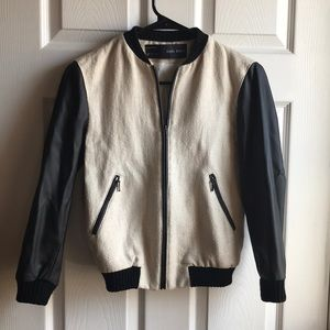 Zara linen and faux leather bomber jacket.